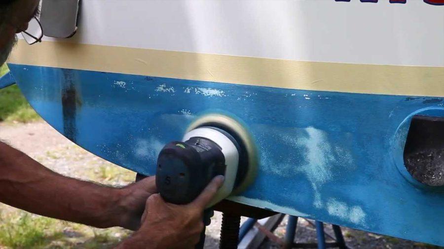 sanding boat hull